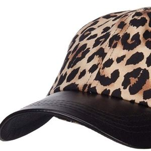 Animal Leopard Print Cap with Leather Bill NWT
